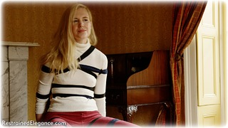 Bondage photo pic picture Ariel Anderssen rope bondage, barefoot, blonde, shoes, sweater, tickle, ungagged