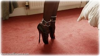 Bondage photo pic picture Ariel Anderssen ring gag, bedroom, blonde, boots, humiliation, leather bondage, lingerie, stockings