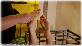 Bondage photo pic picture Ariel Anderssen barefoot, blonde, shoes, slave training, cage, nipple clamps, nude, drama, dress, electroshock, ungagged, foot torture