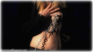 Bondage photo pic picture Ariel Anderssen ballgag, gag, shackles, business wear, chains, lingerie, stockings, metal bondage, topless, ungagged