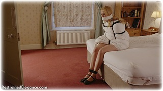 Bondage photo pic picture Ariel Anderssen rope bondage, barefoot, bedroom, blindfold, blonde, shoes, cloth gag, tickle, tickling, crotch rope, romance, melodrama