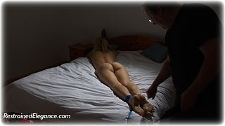 Bondage photo pic picture Ariel Anderssen barefoot, bedroom, slave training, nude, rope bondage, electroshock, foot torture