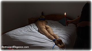 Bondage photo pic picture Ariel Anderssen rope bondage, barefoot, bastinado, bedroom, blindfold, hot wax, slave training, nude, ungagged, foot torture