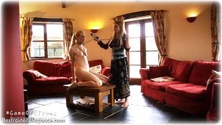 Bondage photo pic picture Penny Lee and Ariel Anderssen ballgag, girlgirl, barefoot, handcuffs, blonde, humiliation, slave training, leg irons, chains, lesbian, metal bondage, collar, nipple clamps, nude, nude in metal