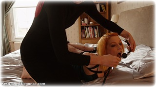 Bondage photo pic picture Ariel Anderssen and Temptress Kate ballgag, girlgirl, rope bondage, barefoot, bedroom, satin, blonde, hogtie, silk, lingerie, documentary, ungagged, redhead