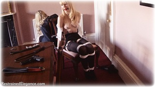 Bondage photo pic picture Ariel Anderssen and Katy Cee ballgag, rope bondage, glasses, blonde, blouse, shoes, humiliation, skirt, stockings, nipple clamps, pencil skirt, topless, ungagged, uniform, whipping, riding crop