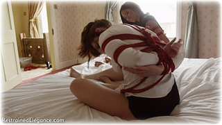 Bondage photo pic picture Natalia Forrest, Ariel Anderssen and Zoe Page rope bondage, girlgirl, barefoot, satin, blonde, blouse, silk, skirt, brunette, slave training, business wear, lesbian, pencil skirt, ungagged, redhead