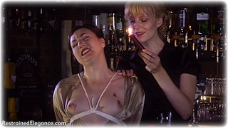 Bondage photo pic picture Pandora Blake and Ariel Anderssen gag, rope bondage, girlgirl, satin, blouse, hot wax, shoes, silk, skirt, lesbian, topless, ungagged