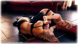 Bondage photo pic picture Penny Lee and Ariel Anderssen rope bondage, girlgirl, blonde, lesbian, lingerie, cloth gag, stockings