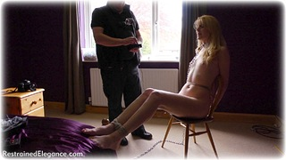 Bondage photo pic picture Ariel Anderssen rope bondage, barefoot, bedroom, blonde, humiliation, chains, collar, nude, ungagged, electroshock