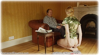 Bondage photo pic picture Ariel Anderssen barefoot, satin, blonde, blouse, shoes, humiliation, silk, skirt, business wear, spanking