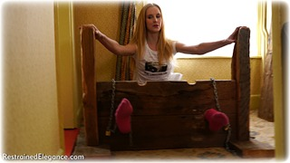Bondage photo pic picture Ariel Anderssen barefoot, bastinado, blonde, socks, stocks, tickle, tickling, foot torture