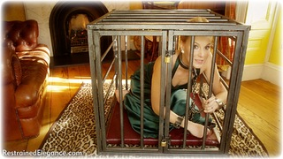 Bondage photo pic picture Ariel Anderssen gag, ballgag, ballgown, barefoot, satin, self bondage, blonde, shackles, silk, cage, chains, collar, ungagged