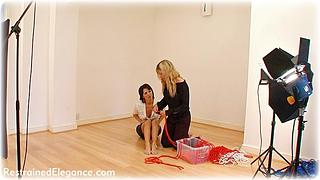 Bondage photo pic picture Myla and Belle girlgirl, rope bondage, barefoot, blouse, topless