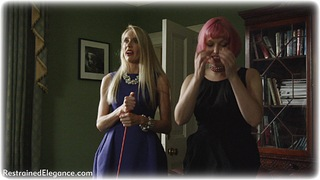 Bondage photo pic picture Natalia Forrest, Ariel Anderssen, Katy Cee and Temptress Kate ballgag, barefoot, girlgirl, rope bondage, bit gag, handcuffs, blonde, slave training, leg irons, chains, lesbian, metal bondage, nude