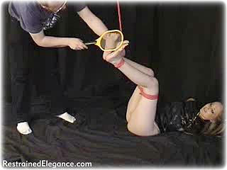 Bondage photo pic picture Chanta Rose rope bondage, barefoot, electroshock, foot torture