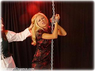 Bondage photo pic picture Petra Morgan and Charisma Cole girlgirl, barefoot, shackles, chains, lesbian, metal bondage, nude