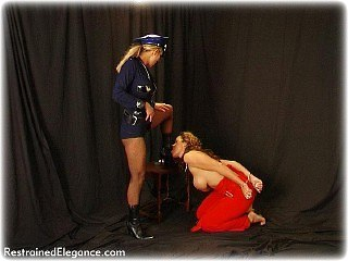 Bondage photo pic picture Christina Carter and Freya Lee ballgag, girlgirl, barefoot, handcuffs, humiliation, leg irons, lesbian, topless, uniform