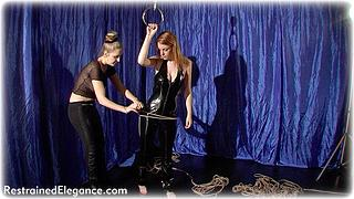 Bondage photo pic picture Chanta Rose and Fi Stevens girlgirl, rope bondage, barefoot, suspension, pvc