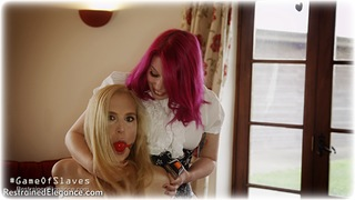 Bondage photo pic picture Penny Lee, Ariel Anderssen and Temptress Kate rope bondage, ballgag, girlgirl, barefoot, handcuffs, blonde, hogtie, humiliation, slave training, leg irons, lesbian, metal bondage, mockumentary, collar, nude