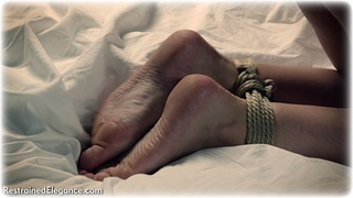 Bondage photo pic picture Penny Lee rope bondage, barefoot, bedroom, blonde, leather bondage, collar, nude, ungagged