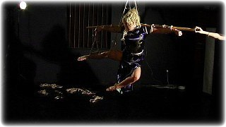 Bondage photo pic picture Chanta Rose and Hannah barefoot, rope bondage, satin, chinese dress, suspension