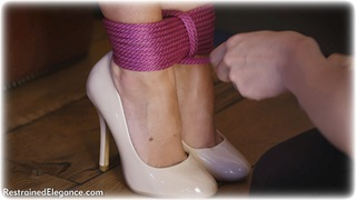 Bondage photo pic picture Hannah Claydon ballgag, rope bondage, girlgirl, barefoot, satin, blonde, shoes, lesbian, dress
