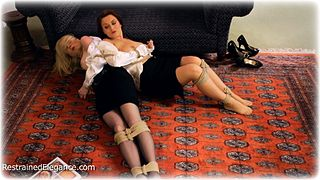 Bondage photo pic picture Ariel Anderssen, Janey and Katy Cee rope bondage, girlgirl, satin, blouse, humiliation, shoes, silk, skirt, stockings, topless, ungagged
