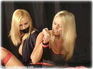 Bondage photo pic picture Jasmine Sinclair and Lucy Zara girlgirl, ballgown, rope bondage, barefoot, humiliation, shoes, tape gag