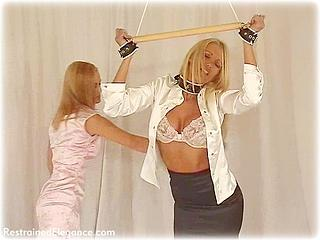 Bondage photo pic picture Jasmine Sinclair and Lucy Zara girlgirl, rope bondage, satin, blouse, leather bondage, silk, lesbian, chinese dress, spreader bar, corporal punishment, paddle