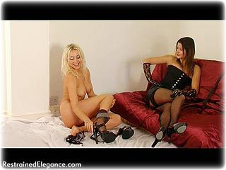 Bondage photo pic picture Marianne and Charisma Cole girlgirl, barefoot, humiliation, slave training, lesbian, spanking, stockings, tickle, tickling