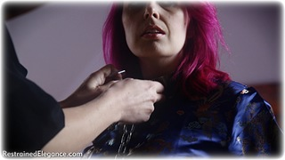 Bondage photo pic picture Ariel Anderssen and Temptress Kate ballgag, girlgirl, barefoot, satin, handcuffs, blonde, shackles, blouse, silk, skirt, slave training, business wear, sm factory, leg irons, lesbian, chains, chinese dress, metal bondage, collar, pencil skirt, redhead
