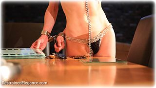 Bondage photo pic picture Katy Cee barefoot, bit gag, shackles, leg irons, slave training, chains, lingerie, metal bondage, collar
