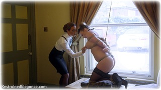 Bondage photo pic picture Natalia Forrest and Penny Lee ballgag, girlgirl, rope bondage, blouse, shoes, humiliation, business wear, lesbian, lingerie, stockings, crotch rope, pencil skirt