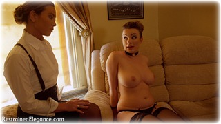 Bondage photo pic picture Natalia Forrest and Penny Lee girlgirl, rope bondage, bit gag, blouse, shoes, humiliation, brunette, skirt, business wear, lesbian, spanking, lingerie, cloth gag, stockings, crotch rope, topless