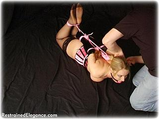 Bondage photo pic picture Missey ballgag, rope bondage, rubber, hogtie, stockings, corset, topless