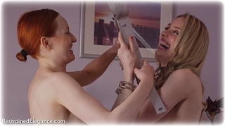 Bondage photo pic picture Anita deBauch and Katy Cee barefoot, bedroom, handcuffs, blonde, metal bondage, nude, ungagged, redhead, yoke