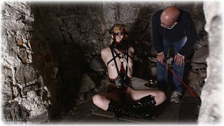 Bondage photo pic picture Ariel Anderssen gag, barefoot, bit gag, handcuffs, blindfold, blouse, humiliation, boots, slave training, leather bondage, leg irons, cane, chains, metal bondage, cloth gag, nude, corporal punishment