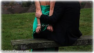 Bondage photo pic picture Sammie B ballgown, satin, barefoot, handcuffs, shoes, leg irons, metal bondage, outdoor