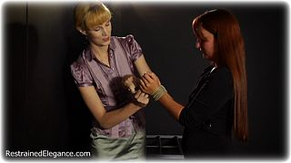 Bondage photo pic picture Ariel Anderssen and Sammie B rope bondage, barefoot, hogtie, blouse, humiliation, shoes, silk, business wear, skirt, stockings, clothes cut off, tape gag, action, romance, thriller