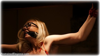 Bondage photo pic picture Ariel Anderssen and Sapphire girlgirl, rope bondage, glasses, blonde, humiliation, silk, lingerie, spreader bar, cloth gag, topless, action, melodrama