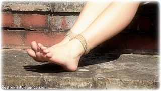 Bondage photo pic picture Sophia Smith barefoot, outdoor, dress, ungagged, rope bondage