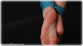 Bondage photo pic picture Sophia Smith ballgag, rope bondage, barefoot, brunette, nude, crotch rope, ungagged, romance