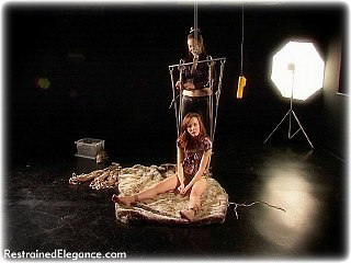 Bondage photo pic picture Chanta Rose and Sophia Smith rope bondage, barefoot, suspension