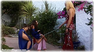 Bondage photo pic picture Ariel Anderssen, Sammie B and Elle Tyler ballgag, girlgirl, barefoot, harem, humiliation, leg irons, slave training, chains, metal bondage, collar, outdoor