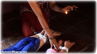 Bondage photo pic picture Ariel Anderssen, Sammie B and Elle Tyler girlgirl, rope bondage, barefoot, harem, hot wax, humiliation, lesbian, collar, foot torture