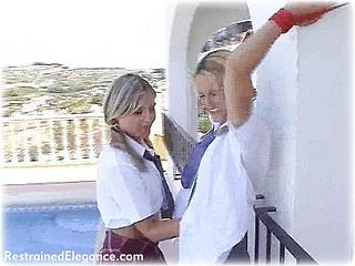 Bondage photo pic picture Naomi-K and Jasmine Sinclair girlgirl, rope bondage, barefoot, lesbian, tickle, outdoor, tickling
