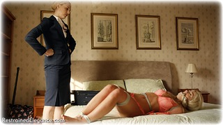 Bondage photo pic picture Ariel Anderssen and Tillie girlgirl, rope bondage, barefoot, bedroom, blonde, hogtie, humiliation, lesbian, lingerie, cloth gag
