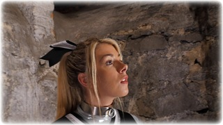 Bondage photo pic picture Tillie gag, blonde, hogtie, shoes, slave training, chains, sportswear, collar, dungeon, pvc