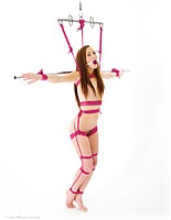 Free bondage photo Sophia Smith ballgag, rope bondage, barefoot, spreader bar, suspension, nude